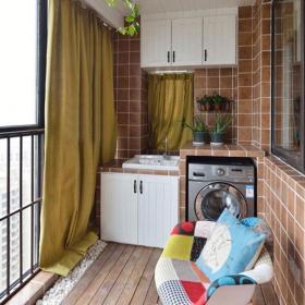 原木色151-200平米混搭风格与众不同五居室阳台装修效果图