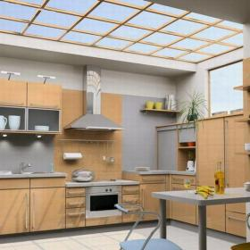 现代简约厨房四居室原木色现代简约风格厨房装修设计效果图