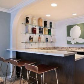 原木色61-90平米二居室两室新古典吧台装修效果图