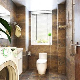 61-90平米三居室地中海风格卫生间原木色花纹墙壁装修效果图