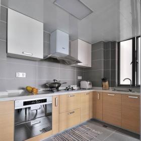 简约风格三居室简洁原木色富裕型厨房橱柜订做效果图