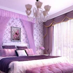 91-120平米卧室四居室紫色轻奢欧式风格卧室装修效果图