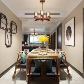 167㎡新中式风格四居之餐厅装潢布置效果图