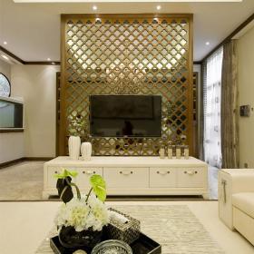 200平大气新中式别墅之电视墙设计效果图