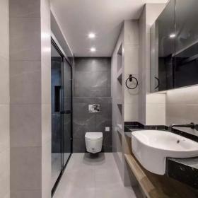 128㎡简约新中式三居之卫浴设计效果图