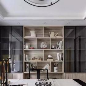 128㎡简约新中式三居之书房书柜设计效果图