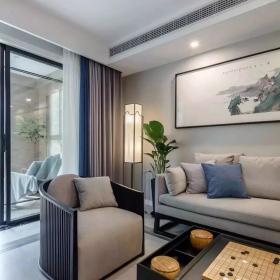128㎡简约新中式三居之沙发摆放效果图