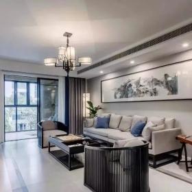 128㎡简约新中式三居之客厅装修布置效果图