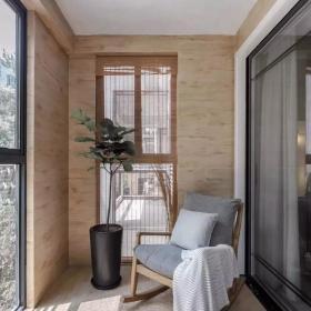 128㎡简约新中式三居之阳台装修布置效果图