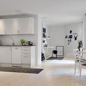 宜家风简约小公寓之厨房餐厅整体效果图
