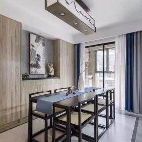 128㎡简约新中式三居之餐厅装修布置效果图