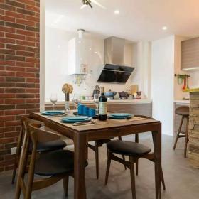 80平新中式混搭两居之餐厅厨房整体效果图