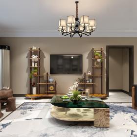 167㎡新中式风格四居之电视墙装潢设计效果图