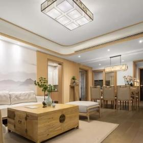 160平新中式三居之客餐厅一体化效果图