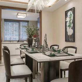125㎡现代中式三室之厨房餐厅整体布置效果图